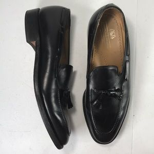 johnston & murphy black leather loafers sz 9-1/2 D